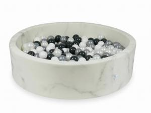 Ball Pit 110x30 marble with balls 400pcs (white, pearl, silver, graphite)