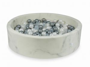 Ball Pit 110x30 marble with balls 400pcs (pearl, transparent, silver)