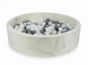 Ball Pit 110x30 marble with balls 400pcs (white, gray, wooly white)