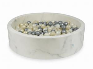 Ball Pit 115x30 marble with balls 400pcs 	(light gold, silver, mermaid effect)