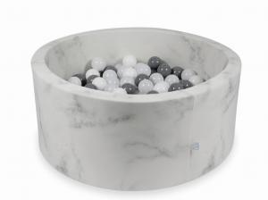Ball Pit 90x40 marble with balls 300pcs (white, gray, wooly white)