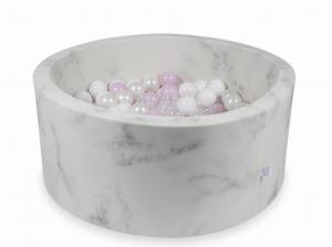 Ball Pit 90x40 marble with balls 300pcs (baby pink pearl, white, transparent, pearl)