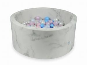 Ball Pit 90x40 marble with balls 300pcs (baby pink, baby pink pearl, baby blue pearl, baby blue, pearl)