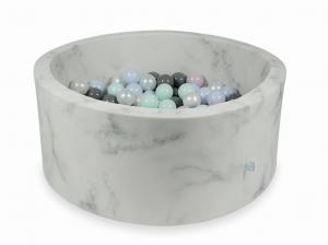 Ball Pit 90x40 marble with balls 300pcs (light mint, baby pink pearl, baby blue pearl, pearl, gray)