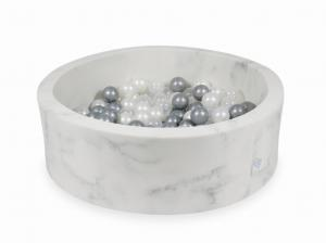 Ball Pit 90x30 marble with balls 200pcs (pearl, transparent, silver)