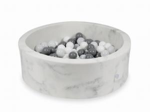 Ball Pit 90x30 marble with balls 200pcs (white, gray, wooly white)