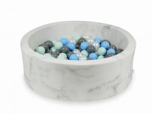 Ball Pit 90x30 marble with balls 200pcs (light mint, baby blue, gray, pearl)