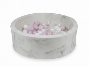 Ball Pit 90x30 marble with balls 200pcs (baby pink pearl, white, transparent, pearl)