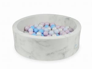 Ball Pit 90x30 marble with balls 200pcs (baby pink, baby pink pearl, baby blue pearl, baby blue, pearl)