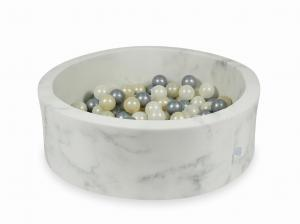 Ball Pit 90x30 marble with balls 200pcs  (light gold, silver, mermaid effect)