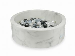 Ball Pit 90x30 marble with balls 200pcs  (metallic graphite, pearl, transparent)