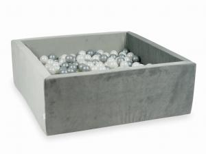 Ball Pit with balls 600pcs 110x110x40 velvet gray (pearl, silver)