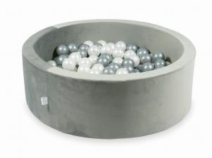 Ball Pit with balls 200pcs 90x30 velvet gray (pearl, silver)