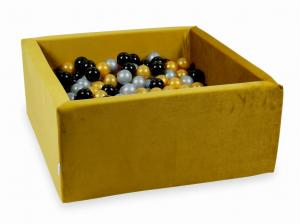 Ball Pit with balls 400pcs 90x90x40 velvet gold (silver, gold, black)