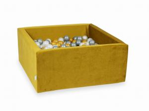 Ball Pit with balls 400pcs 90x90x40 velvet gold (gold, silver, pearl)