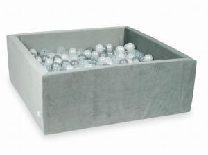 Ball Pit with balls 600pcs 110x110x40 velvet gray (transparent, pearl, silver)