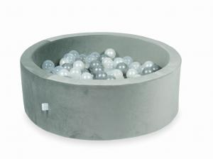 Ball Pit with balls 200pcs 90x30 velvet gray (transparent, pearl, silver)