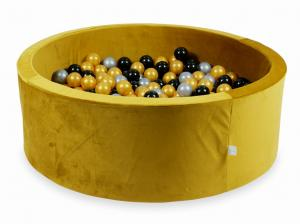 Ball Pit with balls 500pcs 115x40 velvet gold (silver, gold, black)
