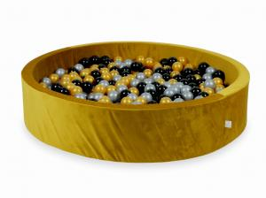 Ball Pit with balls 600pcs 130x30 velvet gold (silver, gold, black)