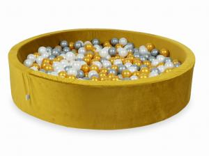 Ball Pit with balls 600pcs 130x30 velvet gold (gold, silver, pearl)