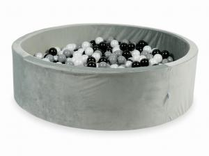 Ball Pit with balls 700pcs 130x40 velvet gray (black, gray, pearl)