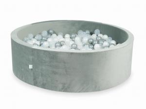 Ball Pit with balls 700pcs 130x40 velvet gray (transparent, pearl, silver)