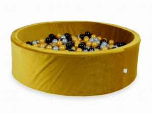 Ball Pit with balls 700pcs 130x40 velvet gold (silver, gold, black)