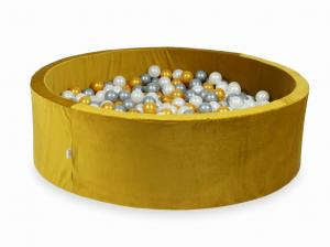 Ball Pit with balls 700pcs 130x40 velvet gold (gold, silver, pearl)
