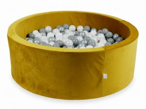 Ball Pit with balls 500pcs 115x40 velvet gold (white, silver, pearl, gray)