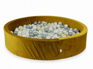 Ball Pit with balls 600pcs 130x30 velvet gold (light gold, silver, pearl)
