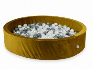Ball Pit with balls 600pcs 130x30 velvet gold (white, silver, pearl, gray)
