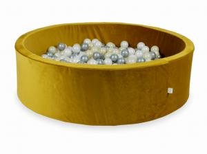 Ball Pit with balls 700pcs 130x40 velvet gold (light gold, silver, pearl)