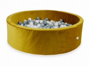 Ball Pit with balls 700pcs 130x40 velvet gold (white, silver, pearl, gray)