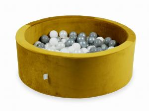 Ball Pit with balls 200pcs 90x30 velvet gold (white, silver, pearl, gray)