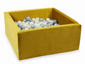 Ball Pit with balls 400pcs 90x90x40 velvet gold (light gold, silver, pearl)