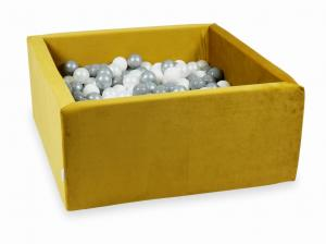 Ball Pit with balls 400pcs 90x90x40 velvet gold (white, silver, pearl, gray)