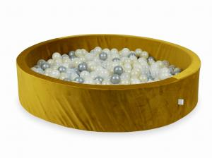 Ball Pit with balls 600pcs 130x30 velvet gold (silver, mermaid effect, light gold, transparent)