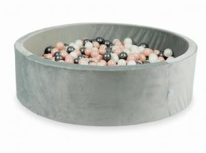 Ball Pit with balls 700pcs 130x40 velvet gray (rosegold, metallic graphite, mermaid effect)