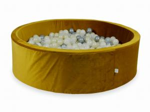Ball Pit with balls 700pcs 130x40 velvet gold (silver, mermaid effect, light gold, transparent)