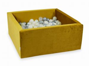 Ball Pit with balls 400pcs 90x90x40 velvet gold (silver, mermaid effect, light gold, transparent)