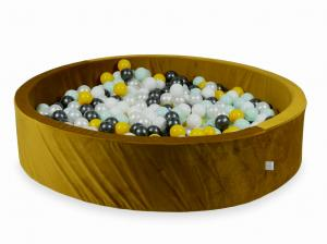 Ball Pit with balls 600pcs 130x30 velvet gold (yellow, light mint, metallic graphite, white, pearl)
