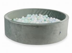 Ball Pit with balls 700pcs 130x40 velvet gray (baby blue pearl, light mint, mermaid effect, white)
