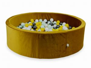 Ball Pit with balls 700pcs 130x40 velvet gold (yellow, light mint, metallic graphite, white, pearl)