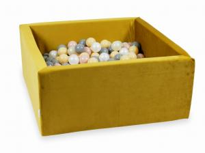 Ball Pit with balls 400pcs 90x90x40 velvet gold (beige, rosegold, light gold, pearl, gray)