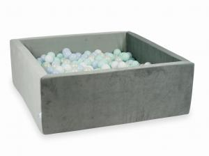 Ball Pit with balls 600pcs 110x110x40 velvet gray (baby blue pearl, light mint, mermaid effect, white)