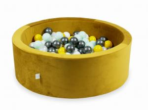 Ball Pit with balls 200pcs 90x30 velvet gold (yellow, light mint, metallic graphite, white, pearl)