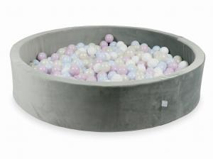 Ball Pit with balls 600pcs 130x30 velvet gray (baby pink pearl, baby blue pearl, mermaid effect, white)