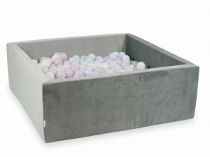 Ball Pit with balls 600pcs 110x110x40 velvet gray (baby pink pearl, baby blue pearl, mermaid effect, white)