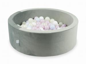 Ball Pit with balls 200pcs 90x30 velvet gray (baby pink pearl, baby blue pearl, mermaid effect, white)