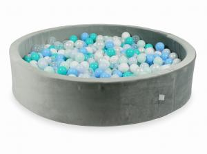 Ball Pit with balls 600pcs 130x30 velvet gray (light mint, turquoise, baby blue, baby blue pearl, pearl, white, transparent)